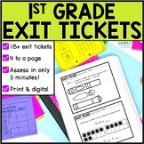 First Grade Math Exit Tickets & Slips Assessment Bundle