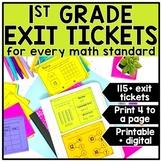 1st Grade Digital Math Exit Tickets & Slips Assessment Bundle
