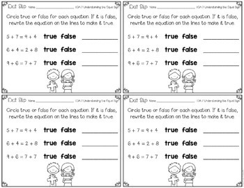 First Grade Math Exit Slips Operations & Algebraic Thinking