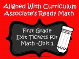 First Grade Math Exit Tickets (Aligned with Unit 1 of Ready Math)