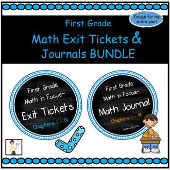 First Grade Math Exit Tickets & Journal BUNDLE