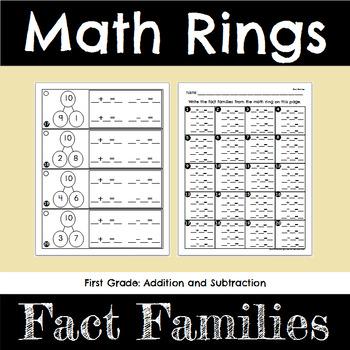 First Grade Math Fact Families