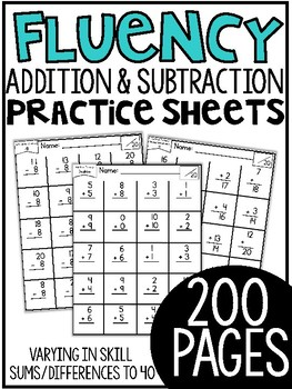 First Grade Math Fluency Sheets By Tara West Teachers Pay Teachers