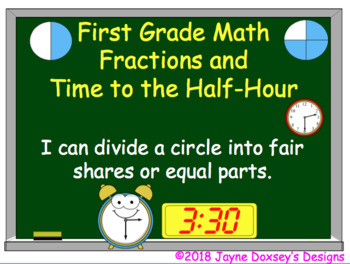 First Grade Math Fractions and Time to Half Hour