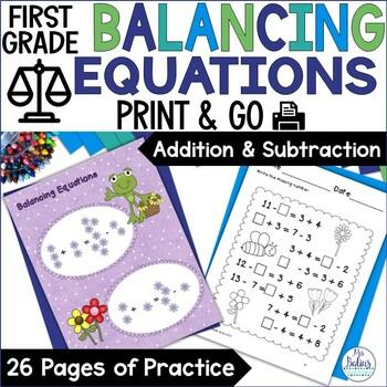 First Grade Math {Frog Math} Balancing Equations Add AND Subtract