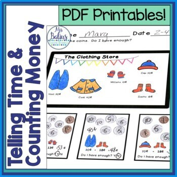 Digital Counting Money Telling Time Google Slides™ First Grade Math Dist Learn