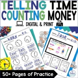 Counting Money Telling Time Worksheets | Digital First Grade Math Activities