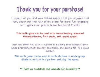 First Grade Math Game Add Ten Bump Roll 2 Dice Add 10 Tpt