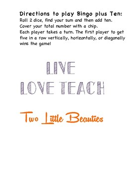 First Grade Math Game Bingo Plus Ten Roll 2 Dice Add 10 Tpt