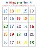 First Grade Math Game - Bingo plus Ten - Roll 2 Dice Add 10