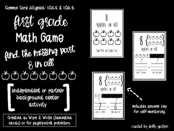 First Grade Math Game: Find the Missing Part - 8s