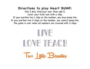 First Grade Math Game - Heart Bump - Roll 2 Dice Add 5