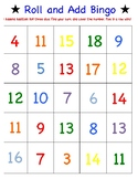 First Grade Math Game - Roll and Add Bingo - Three Addend Addition