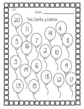 First Grade Math Game Spanish