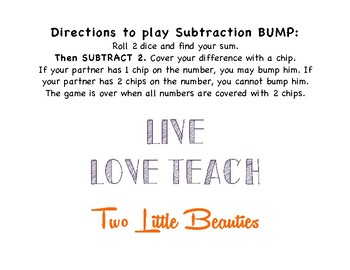 First Grade Math Game - Subtraction Bump - Roll 2 Dice Subtract 2