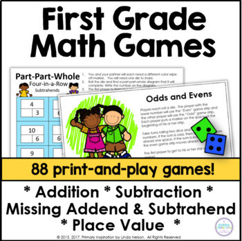 First Grade Math One Page Games Bundle
