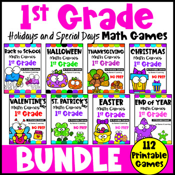 1st Grade Math Games Holidays Bundle: Halloween Math, Thanksgiving Math etc