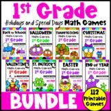 First Grade Math Games Holidays Bundle: St. Patrick's Day Math, Easter Math etc