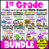 1st Grade Math Games Holiday Bundle: Easter Math, End of Year Math etc