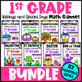 1st Grade Math Games Holidays Bundle: End of Year Math, Ba