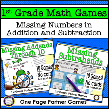 First Grade Math Games Missing Addends and Missing Subtrahends Bundle