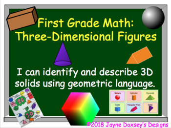 First Grade Math Geometry Using 3-Dimensional Figures
