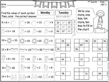 First Grade Math Homework - 4th  Quarter