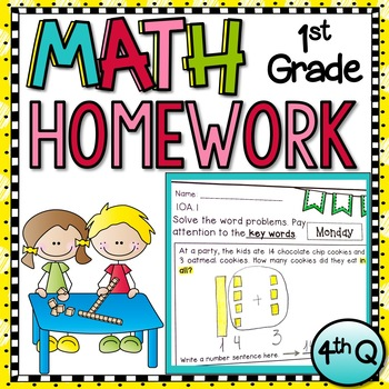 First Grade Math Homework - 4th  Quarter