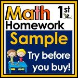 First Grade Math Homework Free Sample with Digital Option