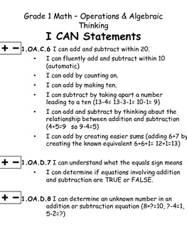 First Grade Math I Can Statements