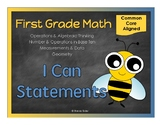 "First Grade Math - 24 ""I Can Statements"" (Common Core Aligned)"