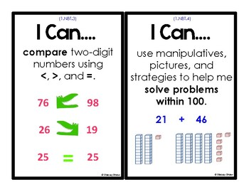 """First Grade Math - 24 """"I Can Statements"""" (Common Core Aligned)"""