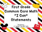 First Grade Math I Can Statements *DISNEY THEMED*