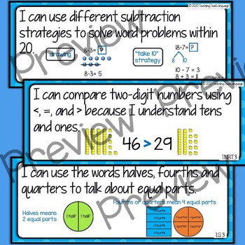 "First Grade Math ""I can"" Statements - ENGLISH"