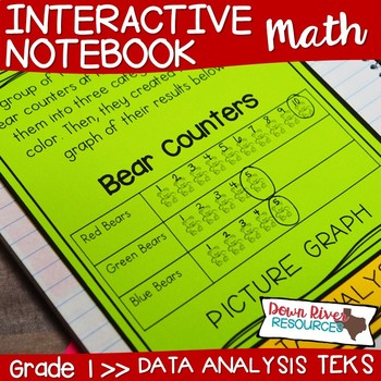 First Grade Math Interactive Notebook: Data Analysis- Graphing (TEKS)