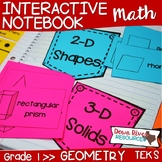 First Grade Math Interactive Notebook: Geometry- 2-D Shapes & 3-D Solids (TEKS)