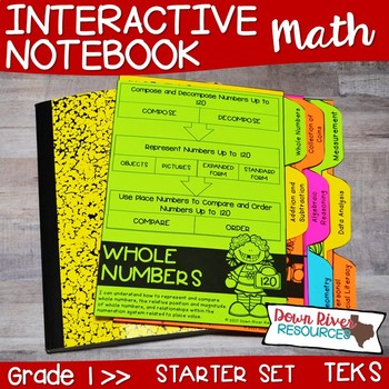 First Grade Math Interactive Notebook: Starter Set + Divider Tabs Bundle (TEKS)