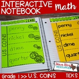 First Grade Math Interactive Notebook: U.S. Coins and Their Values (TEKS)