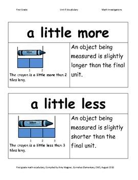 First Grade Math Investigations Unit Five Vocabulary