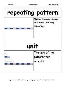First Grade Math Investigations Unit Seven Vocabulary
