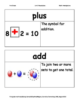 First Grade Math Investigations Unit Three Vocabulary