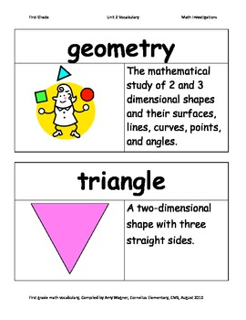 First Grade Math Investigations Unit Two Vocabulary