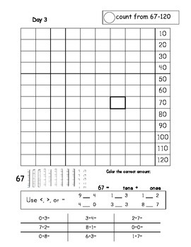 First Grade Math Journal - AUGUST (MONTH 1) Common Core
