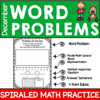 First Grade Math Journal - December Word Problems
