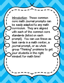 First Grade Math Journal Prompts: Common Core Aligned