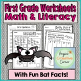 First Grade Math & Literacy Worksheets with Fun Bat Facts!
