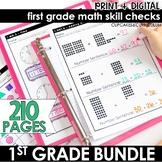 First Grade Math Skill Checks   Full Year Bundle