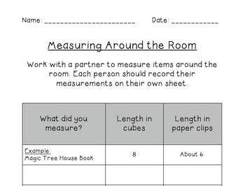 """First Grade Math """"Measure Around the Room"""" Common Core Aligned Measuring"""