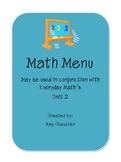 First Grade Math Menu