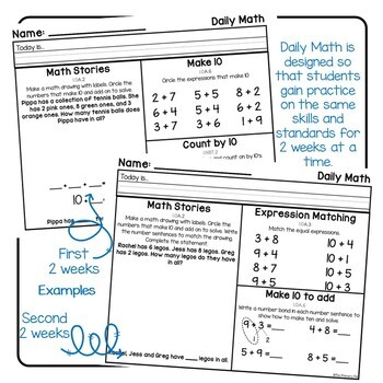 First Grade Math Morning Work: Bundle 2